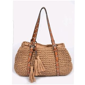 Leather Strap Straw Tote Bag